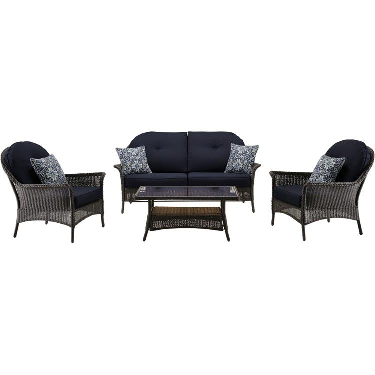 Hanover San Marino 4-Piece Patio Set in Country Cork [Item # HANFRBSMAR-4PC-NVY]