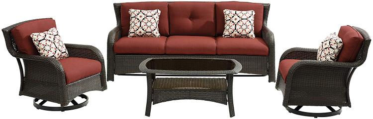 Hanover Strathmere 4-Piece Lounge Set in Crimson Red [Item # HANFRBSTRATH4PCSW-S-GRN]