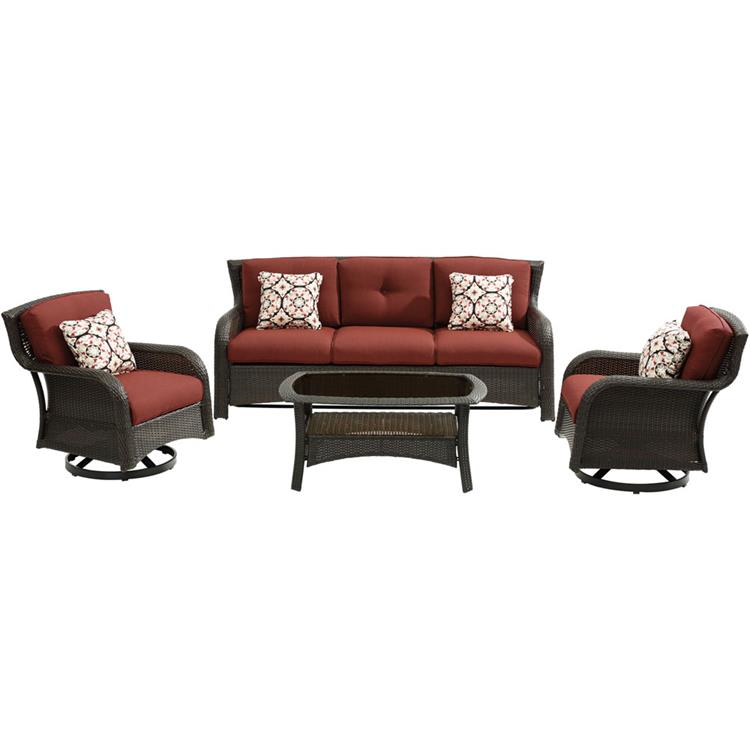 Hanover Strathmere 4-Piece Lounge Set in Crimson Red [Item # ]