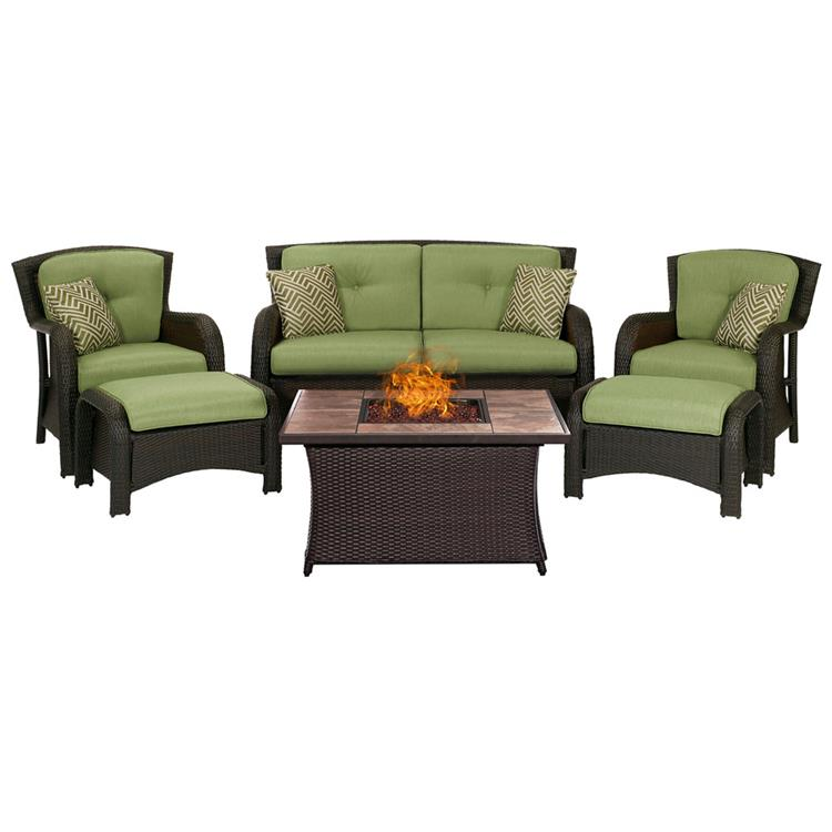 Hanover Strathmere 6-Piece Lounge Set In Crimson Red with Fire Pit Table [Item # HANFRBSTRATH6PCFP-GRN-TN]