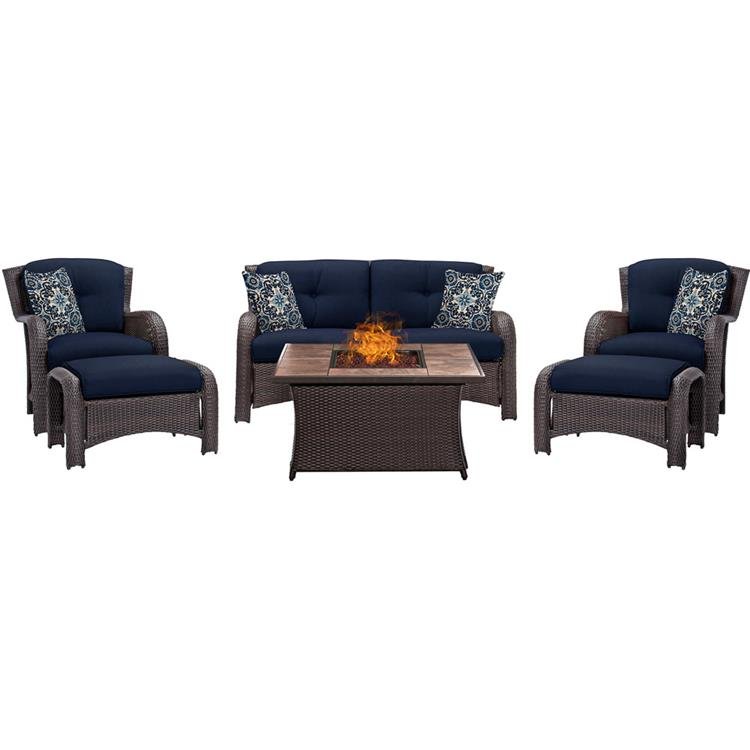 Hanover Strathmere 6-Piece Lounge Set In Crimson Red with Fire Pit Table