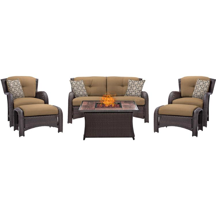 Strathmere 6-Piece Lounge Set in Country Cork with Fire Pit Table