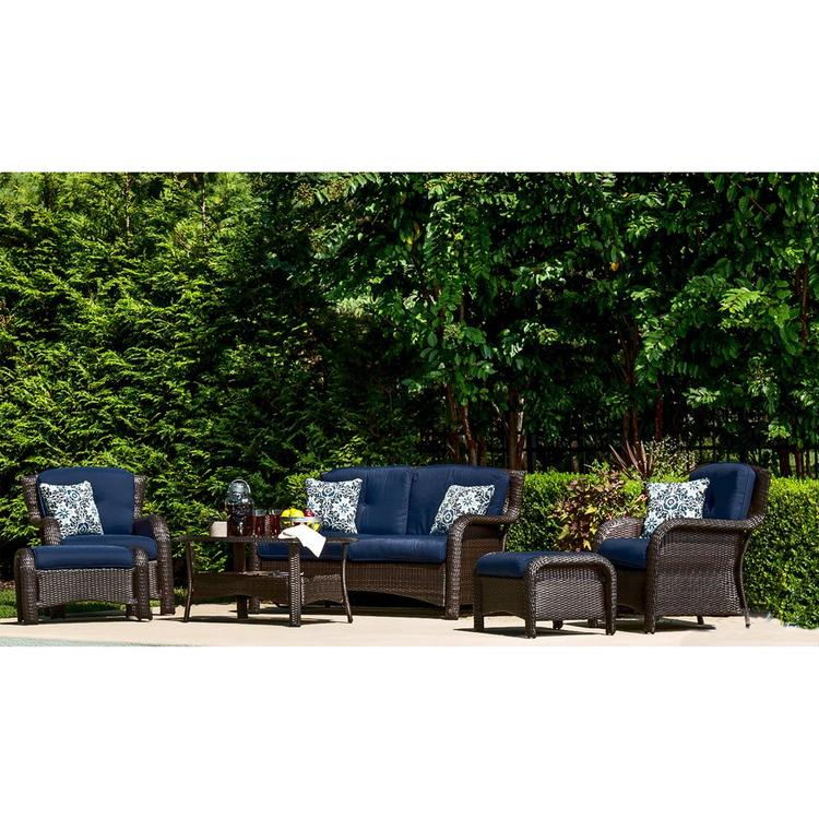 Hanover Strathmere 6-Piece Lounge Set in Navy Blue