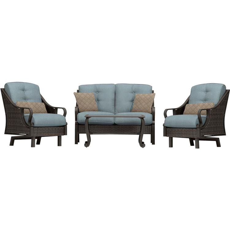 Hanover Ventura 4-Piece Patio Set in Ocean Blue