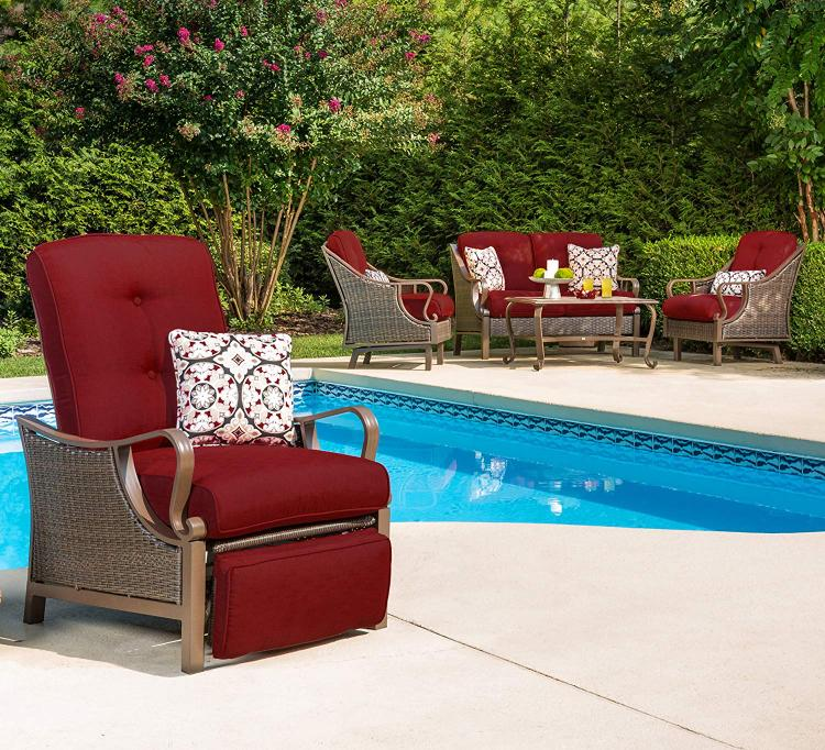 Hanover Ventura Outdoor Luxury Recliner in Crimson Red [Item # HANFRBVENTURAREC-RED]