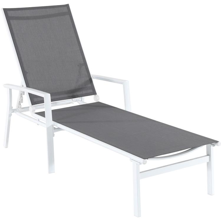 Hanover Naples Adjustable Sling Chaise in Navy Blue Sling and White Frame [Item # HANFRYNAPLESCHS-W-GRY]