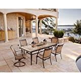 Hanover Fontana 7-Piece Dining Set with Six Stationary Dining Chairs, a Tile-Top Dining Table, 9 Ft. Umbrella and Umbrella Stand [Item # HANFURFNTDN7PCSWTN-2]