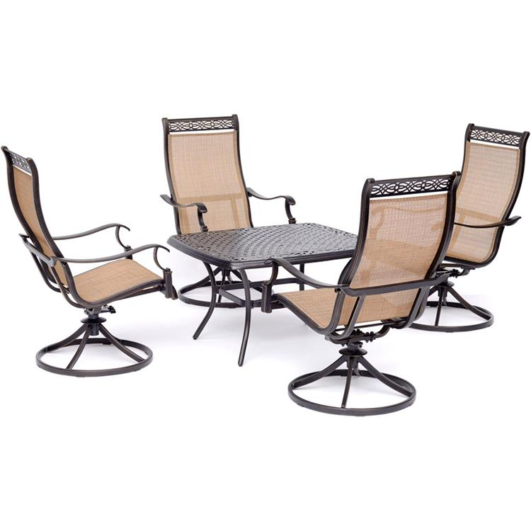 Hanover Manor 5-Piece Patio Rocking Set with Four Swivel Rockers and a 32