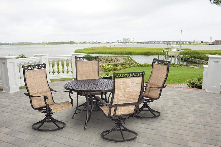 Hanover Manor 5-Piece Outdoor Dining Set with Four Swivel Rockers