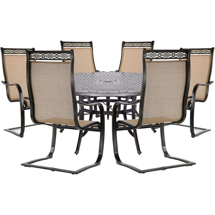 Hanover Manor 7-Piece Dining Set with 2 Swivel Rockers, 4 Stationary Dining Chairs, a Cast-Top Dining Table, 9 Ft. Umbrella and Stand