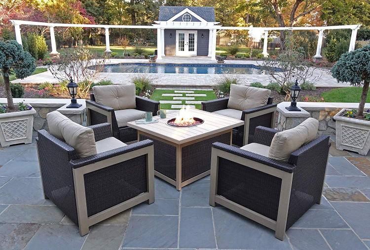 Hanover Montana 5-Piece Fire Pit Chat Set in Tan with 40,000 BTU Fire Pit Table