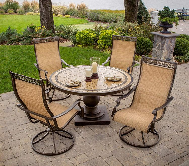 Hanover Monaco 5-Piece Dining Set with Four Sling Swivel Rockers and a 51 In. Tile-Top Dining Table