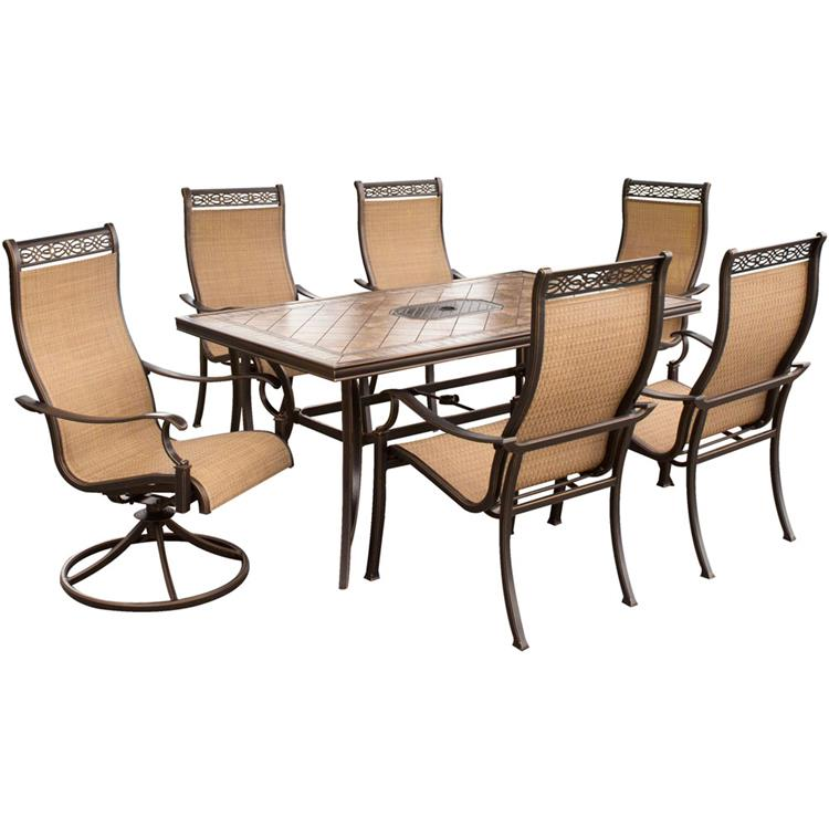 Hanover Monaco 7-Piece Dining Set with Four Dining Chairs, Two Swivel Rockers, a Tile-Top Dining Table, and a Protective Vinyl Cover