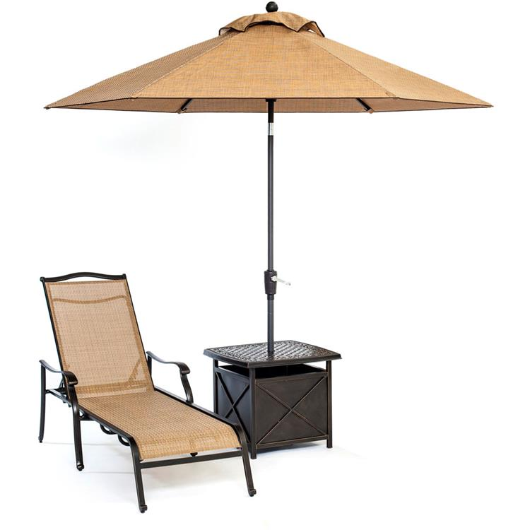 Hanover Monaco Chaise Lounge Chair with 11 Ft. Umbrella and Side Table - [HANFURMONCHS3PC-SU]