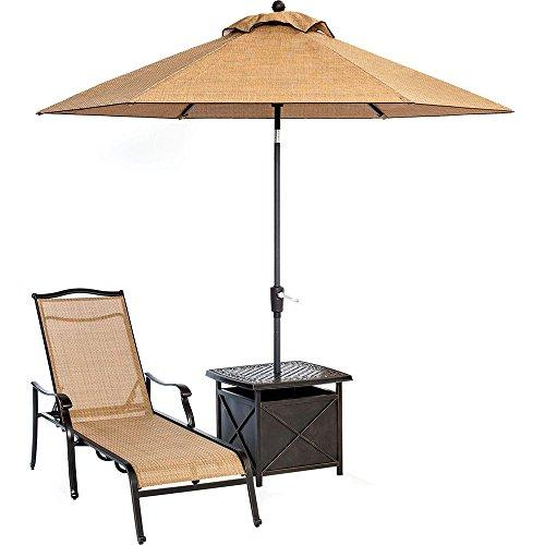 Monaco Chaise Lounge Chair with an End Table and 11 Ft. Umbrella