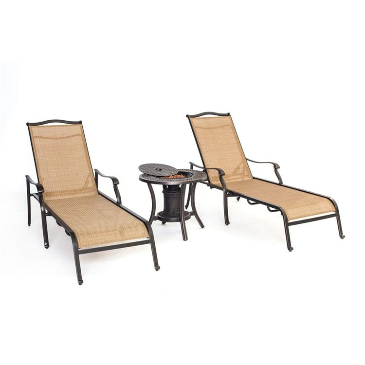 Hanover Set of Two Monaco Chaise Lounge Chairs and One Fire Urn [Item # HANFURMONCHS3PC-URN]