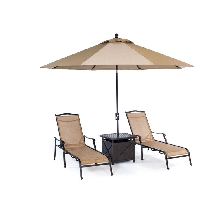 Hanover Monaco 4-Piece Chaise Lounge Set with 11 Ft. Umbrella and Side Table [Item # HANFURMONCHS4PC-SU]
