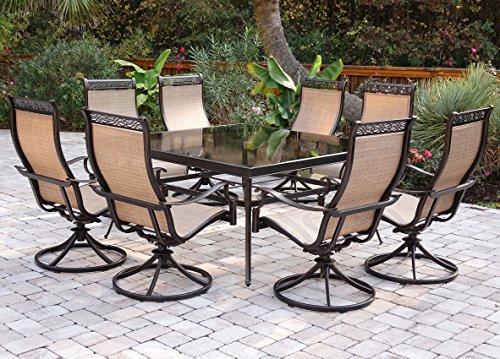 Monaco 9-Piece Dining Set with 60 In. Square Glass Table and Swivel Chairs