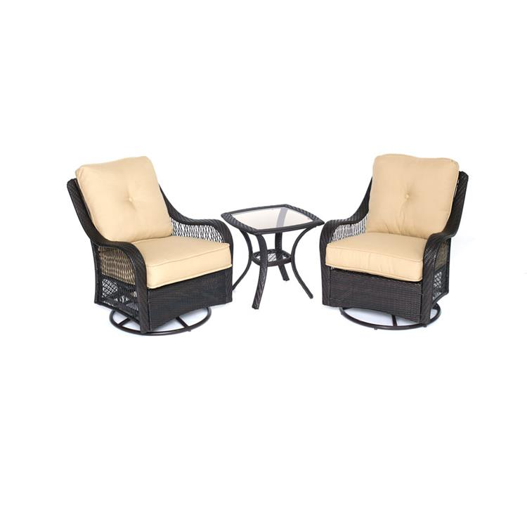 Hanover Orleans 3-Piece Swivel Gliding Chat Set in Sahara Sand