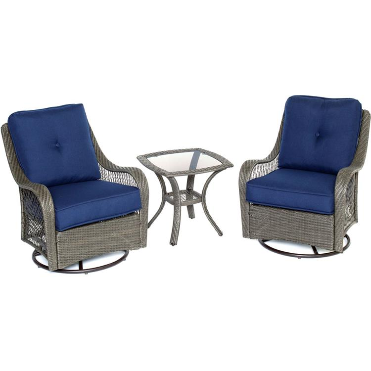 Hanover Orleans 3-Piece Swivel Gliding Chat Set in Navy Blue with Gray Weave
