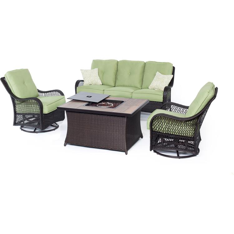 Hanover Orleans 4-Piece Woven Lounge Set with Fire Pit Table in Sahara Sand