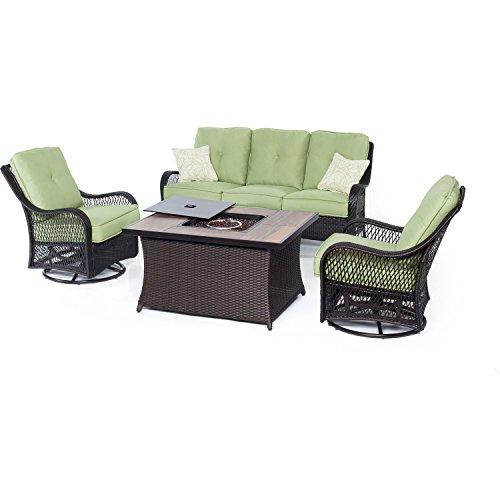 Orleans 4-Piece Woven Lounge Set with Fire Pit Table