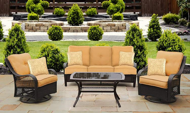 Hanover Orleans 4-Piece All-Weather Patio Set in Sahara Sand