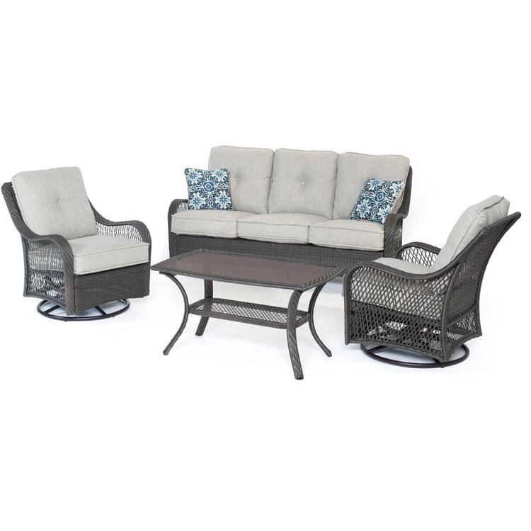 Hanover Orleans 4-Piece All-Weather Patio Set in Silver Lining with Gray Weave