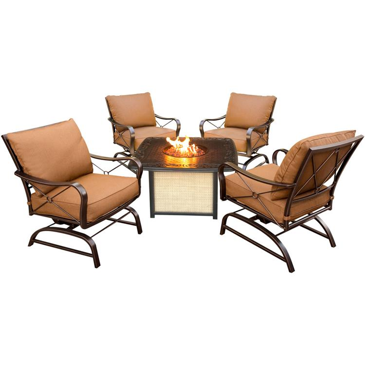 Hanover Summer Nights 5-Piece Fire Pit Lounge Set