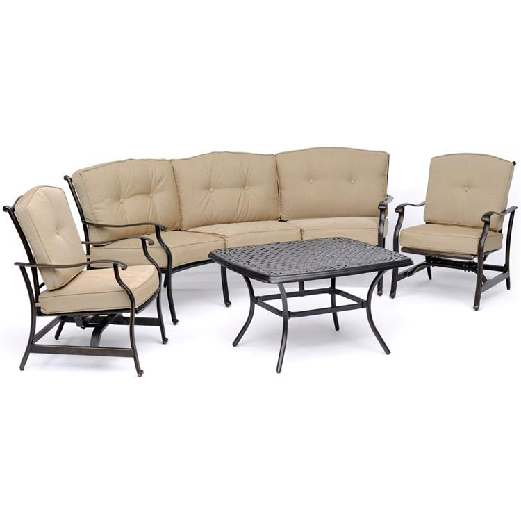 Hanover Traditions 4-Piece Patio Set with Cast-Top Coffee Table, Crescent Sofa and 2 Cushioned Rockers in Tan [Item # HANFURTRAD4PCCT-TAN]