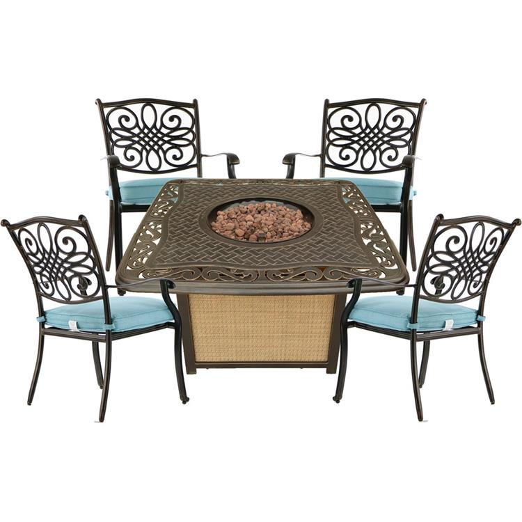 Hanover Traditions 5-Piece Patio Fire Pit Chat Set with 4 Cushioned Chairs and a 30,000 BTU Cast-Top Propane Fire Pit Table [Item # HANFURTRAD5PCCFP-BLU]