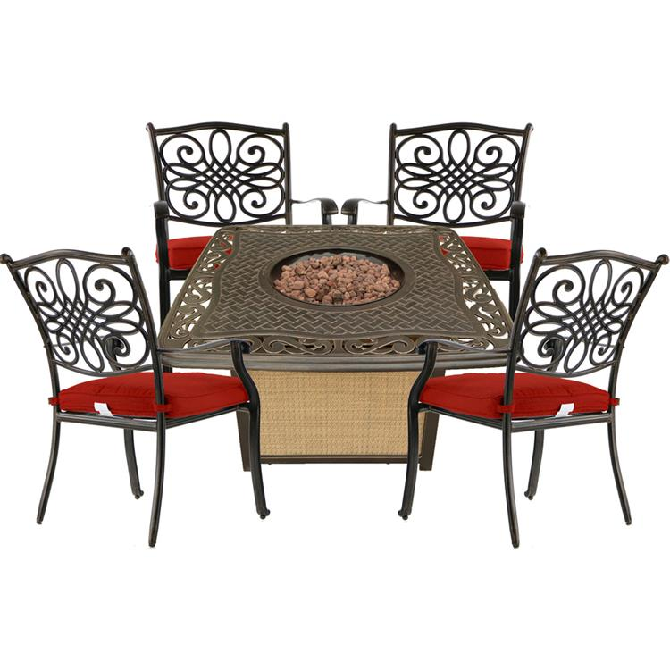 Hanover Traditions 5-Piece Patio Fire Pit Chat Set with 4 Cushioned Chairs and a 30,000 BTU Cast-Top Propane Fire Pit Table [Item # HANFURTRAD5PCCFP-RED]