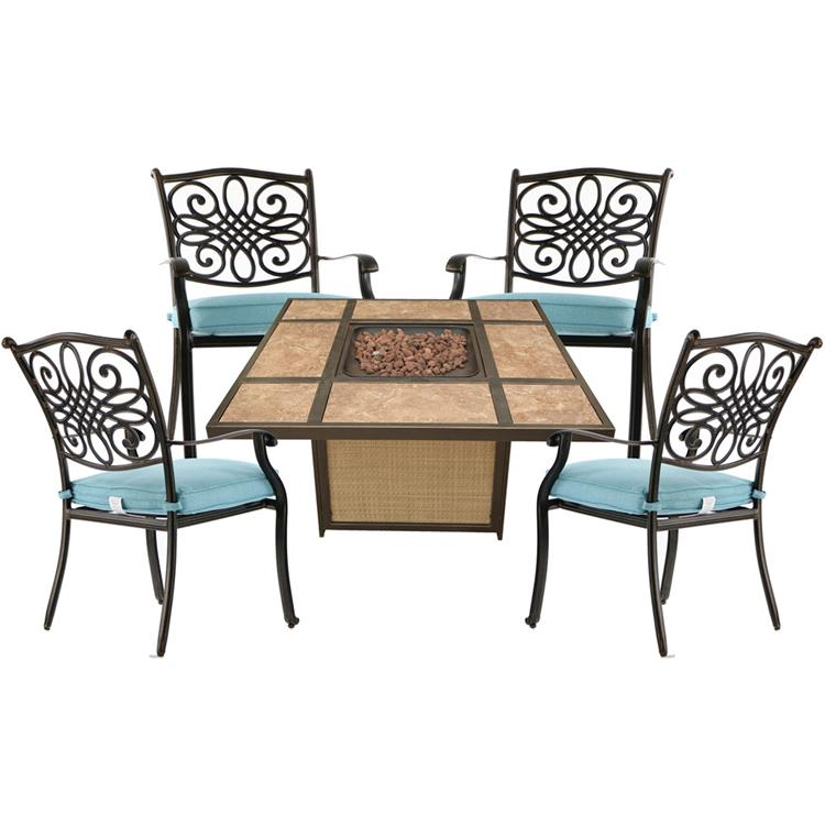Hanover Traditions 5-Piece Patio Fire Pit Chat Set with 4 Cushioned Chairs and a 40,000 BTU Tile-Top Propane Fire Pit Table [Item # HANFURTRAD5PCTFP-BLU]