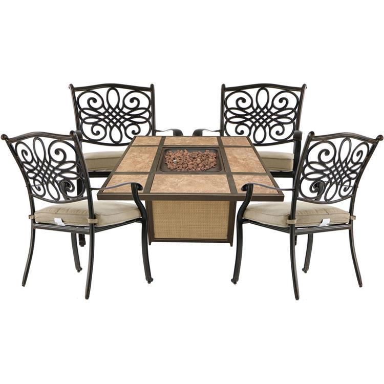 Hanover Traditions 5-Piece Patio Fire Pit Chat Set with 4 Cushioned Chairs and a 40,000 BTU TileTop Propane Fire Pit Table [Item # HANFURTRAD5PCTFP-TAN]