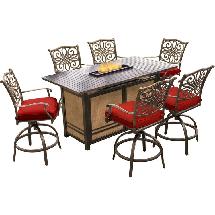 Hanover Traditions 7-Piece High-Dining Set in Red with 30,000 BTU Fire Pit Table [Item # HANFURTRAD7PCFPBR-RED]