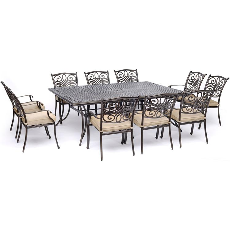 Hanover Traditions 11-Piece Dining Set in Red with Four Swivel Rockers, Six Dining Chairs, and an Extra-Long Dining Table