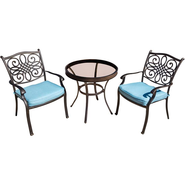 Hanover Traditions 3-Piece Swivel Bistro Set in Blue with 30 in. Glass-top Table