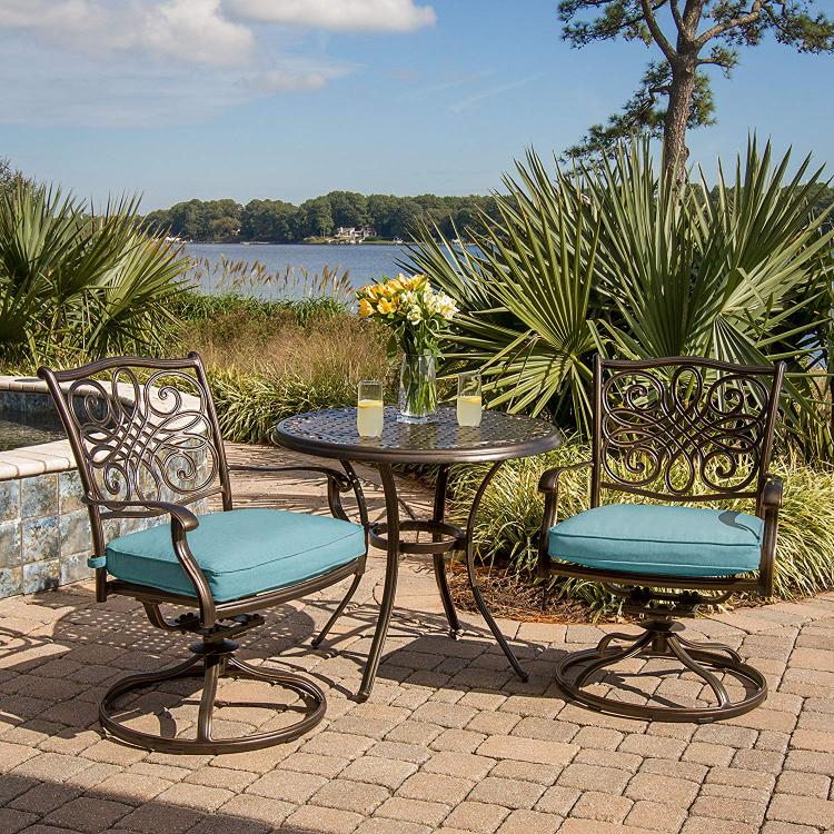 Hanover Traditions 3-Piece Bistro Set in Blue with 32 in. Cast-Top Table