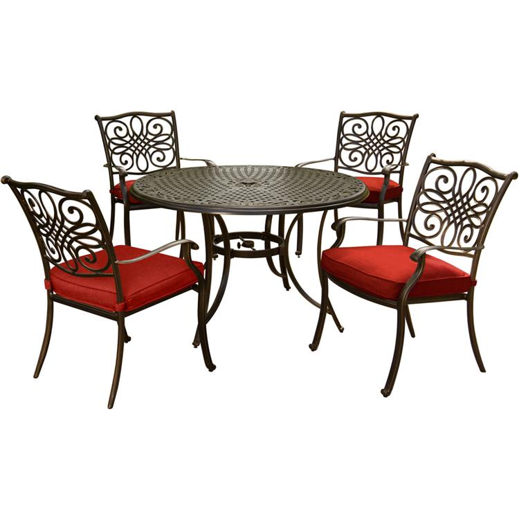Hanover Traditions 5-Piece Dining Set in Blue with 48 In. Glass-top Table, 9 Ft. Table Umbrella, and Umbrella Stand