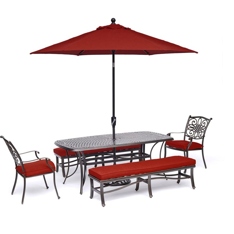 Hanover Traditions 5-Piece Outdoor Dining Set in Red with 2 Chairs, 2 Benches, 72 x 38 In. Cast-top Table, 9 Ft. Umbrella and Stand [Item # HANFURTRADDN5PCBN-SU-R]