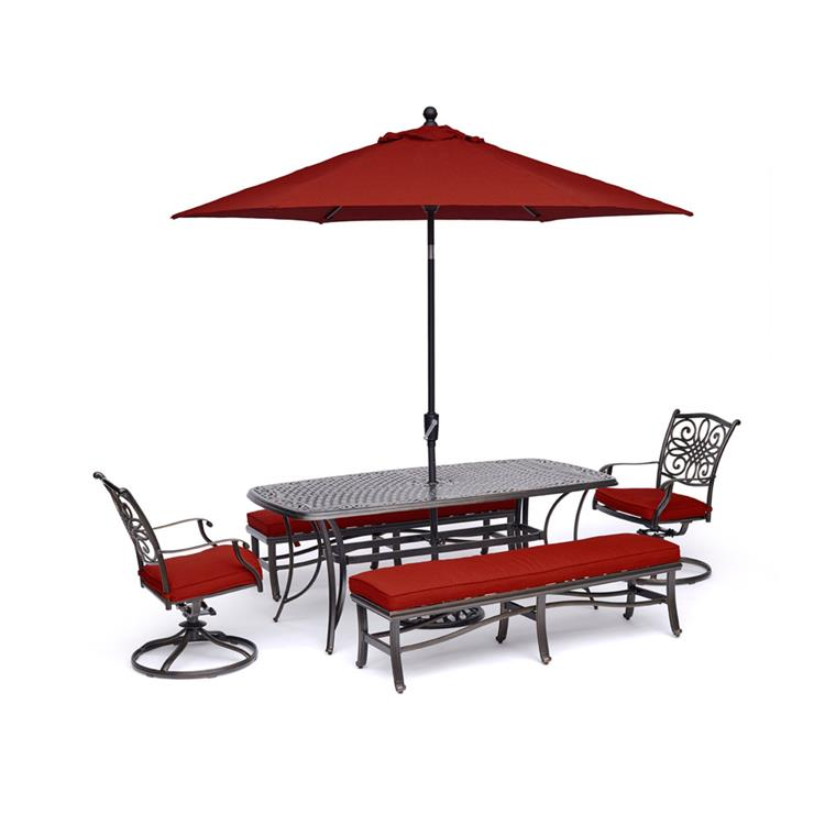 Hanover Traditions 5-Piece Dining Set in Red with 2 Swivel Rockers, 2 Benches, a 38