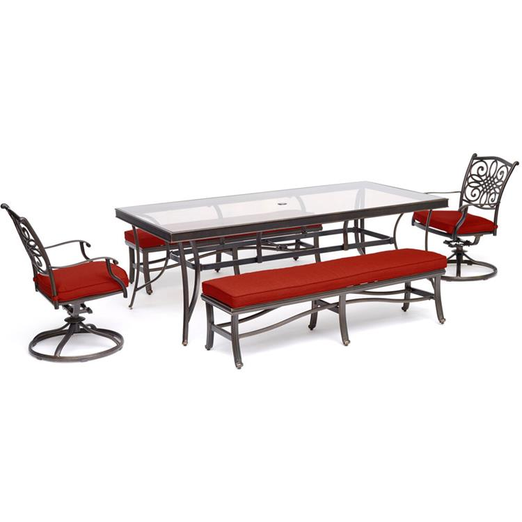 Hanover Traditions 5-Piece Patio Dining Set in Red with 2 Swivel Rockers, 2 Cushioned Benches, and a 42