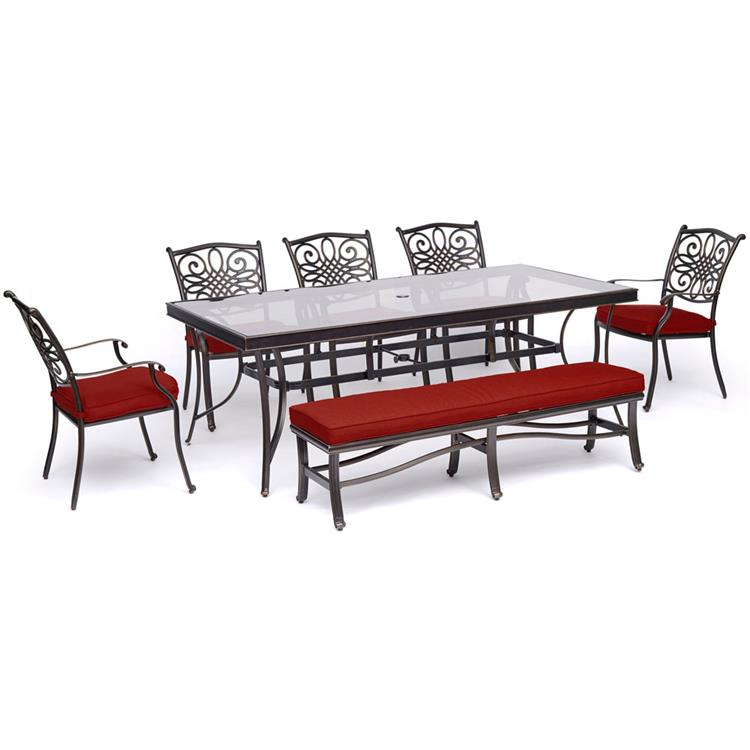 Hanover Traditions 7-Piece Outdoor Dining Set in Red with 5 Dining Chairs, a Cushioned Bench, and a 42
