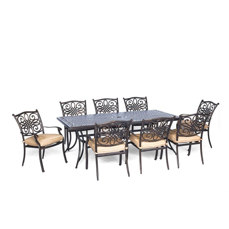 Hanover Traditions 9-Piece Dining Set with Eight Stationary Dining Chairs, an Extra-Long Dining Table, and a Protective Vinyl Cover