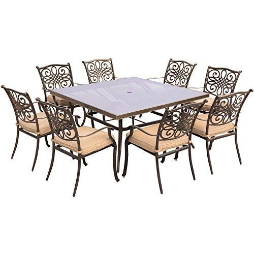 Hanover TRADDN9PCSQG Traditions 9-Piece Square Dining Set with Eight Stationary Dining Chairs and a Square Glass-Top Dining Table