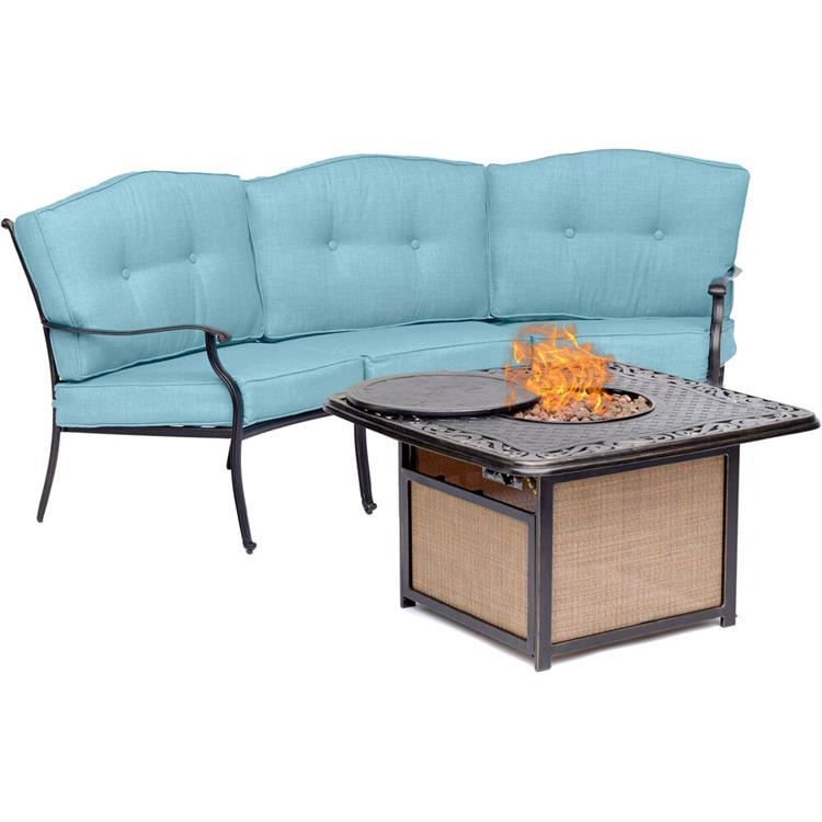 Hanover Traditions 2-Piece Seating Set in Blue with Cast-Top Fire Pit [Item # HANFURTRADITIONS2PCFP-BLU]
