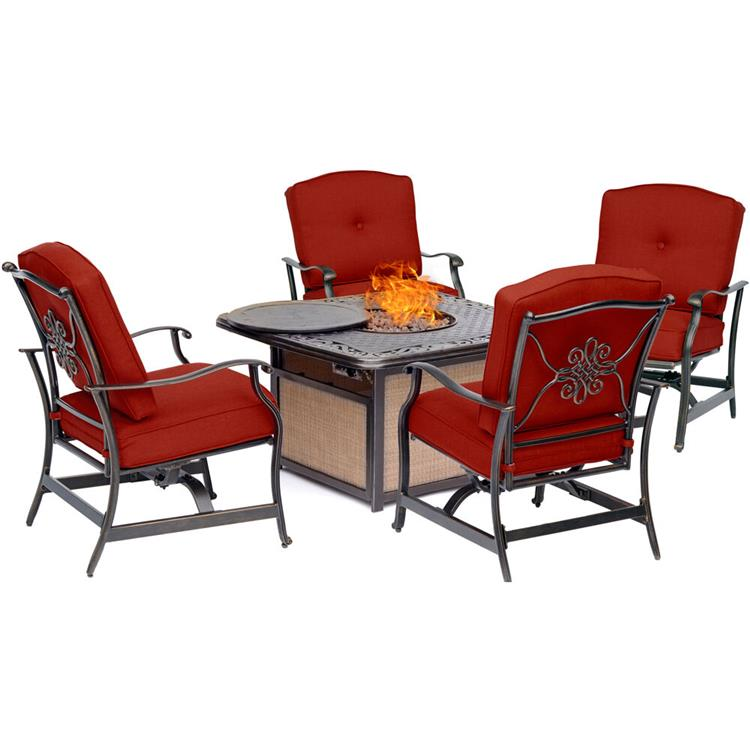 Hanover Traditions 5-Piece Seating Set in Red with Cast-Top Fire Pit Table [Item # HANFURTRADITIONS5PCFP-RED]