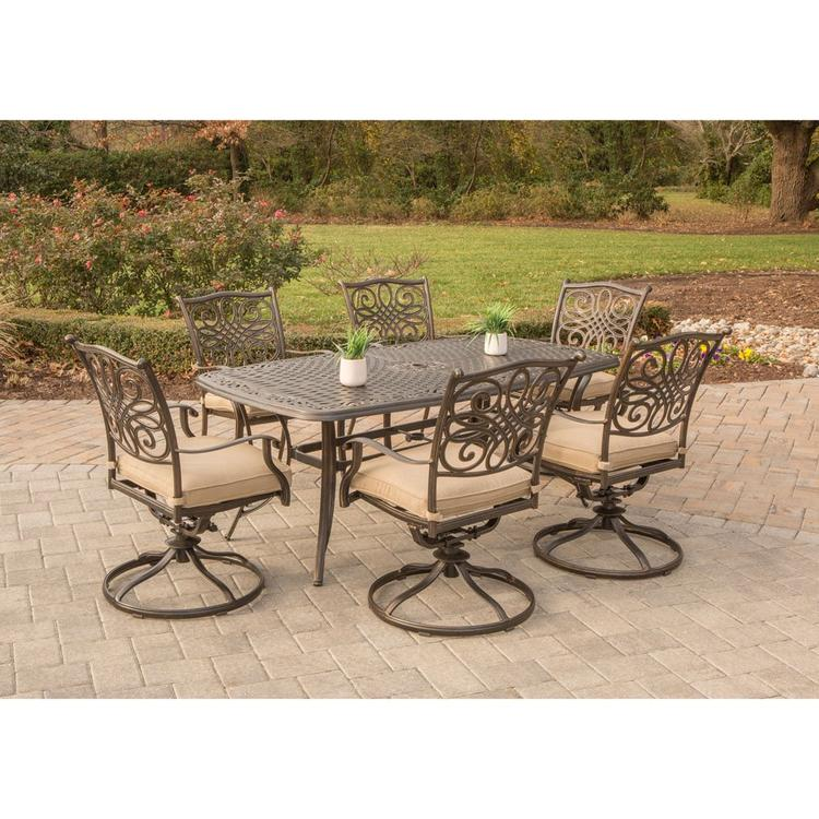 Hanover Traditions 7-Piece Dining Set with Six Swivel Dining Chairs and a Large 72 x 38 in. Dining Table [Item # HANFURTRADITIONS7PCSW-6]
