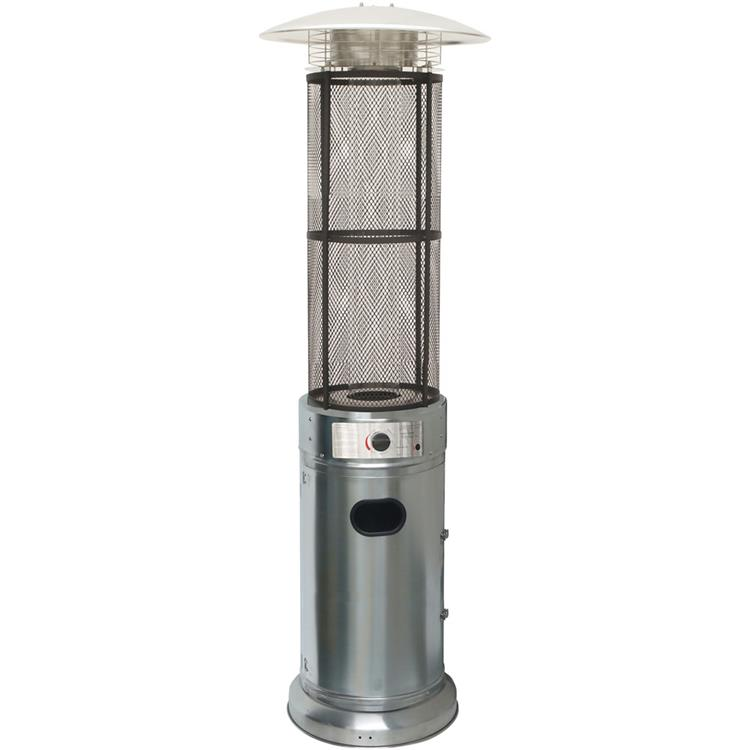 Hanover 6 Ft. 34,000 BTU Cylinder Patio Heater with Glass Flame Display in Black [Item # HANHTRHAN030SSCL]