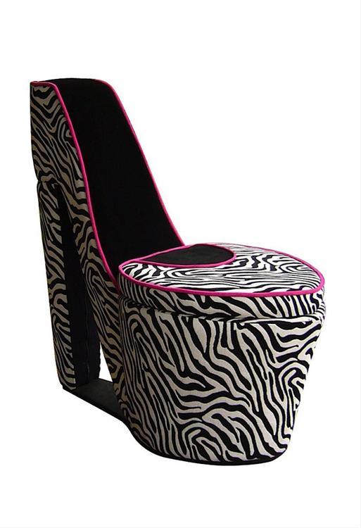 ORE International Pink/Black High Heels Storage Chair